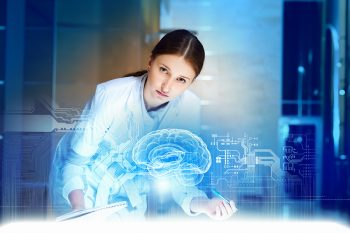 Image of young woman doctor. Concept of modern technology via BigStock