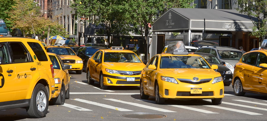 Taxi cabs on the streets of New York City. Courtesy