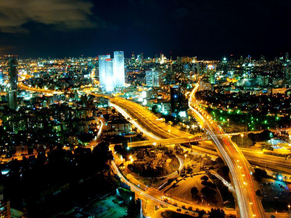 Tel Aviv: Skyline (night) via US Embassy Tel Aviv/Flickr
