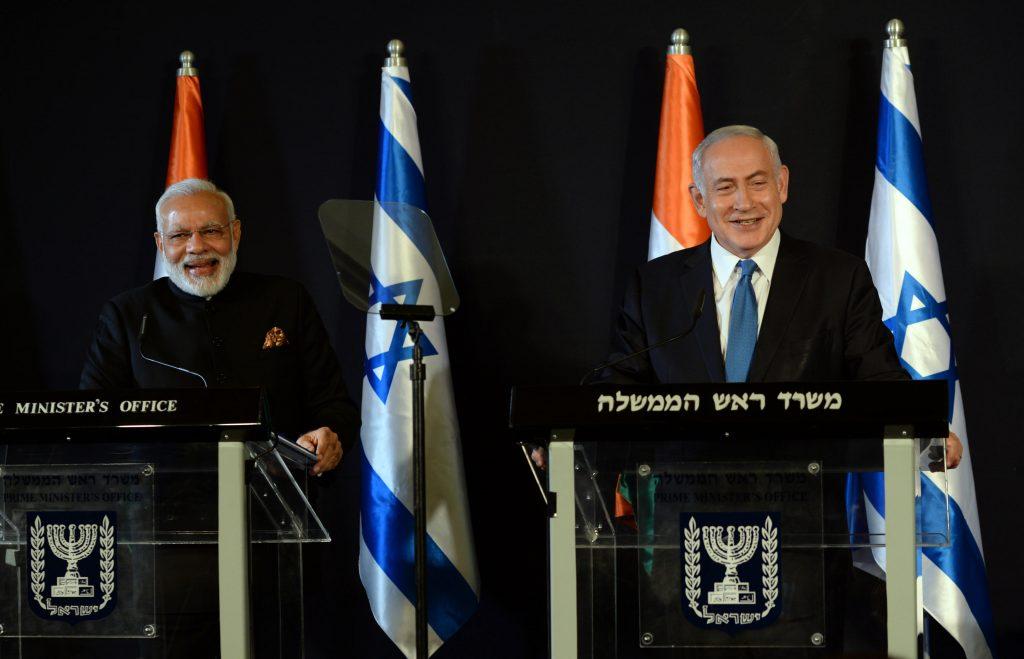 Israeli PM Benjamin Netanyahu and Indian PM Narendra Modi in Jerusalem in July 2017. Photo by Haim Zach/GPO