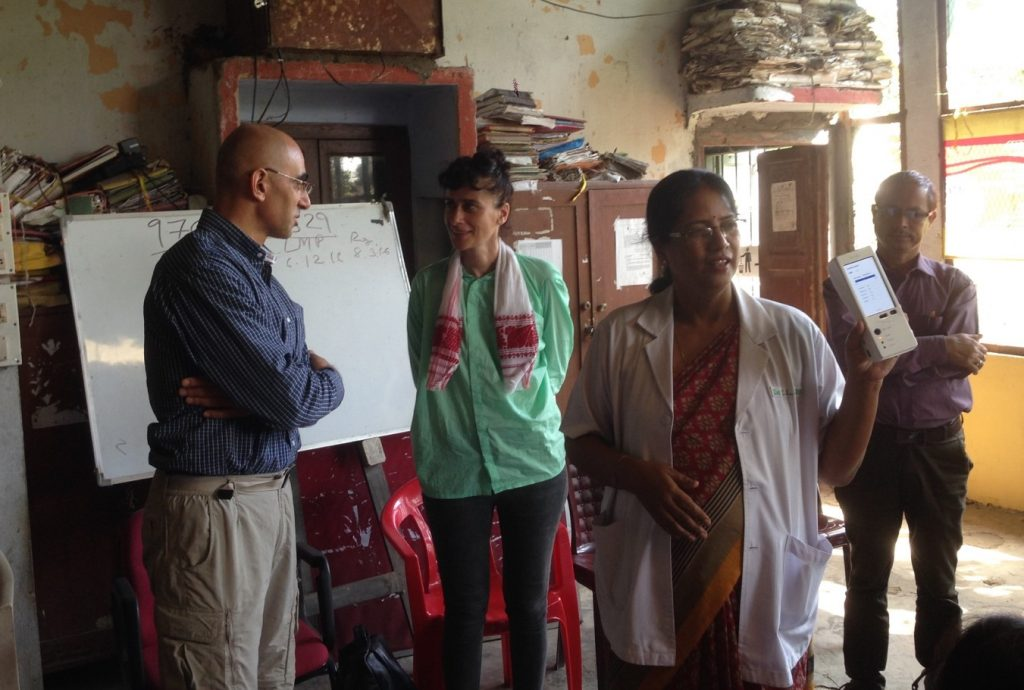 Yoel Ezra (left) representing EfA in India as part of a Pears Challenge delegation in August. He is presenting RevDx to a rural clinic in Assam. The clinic worker (second from right) is showing a RevDx model. Photo credit: Courtesy of EfA