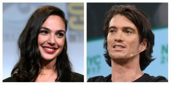 Gal Gadot, left, in a photo taken by Gage Skidmore via Flickr (CC BY-SA 2.0), and Adam Neumann, right, in a photo taken by Noam Galai/Getty Images for TechCrunch (CC BY 2.0).