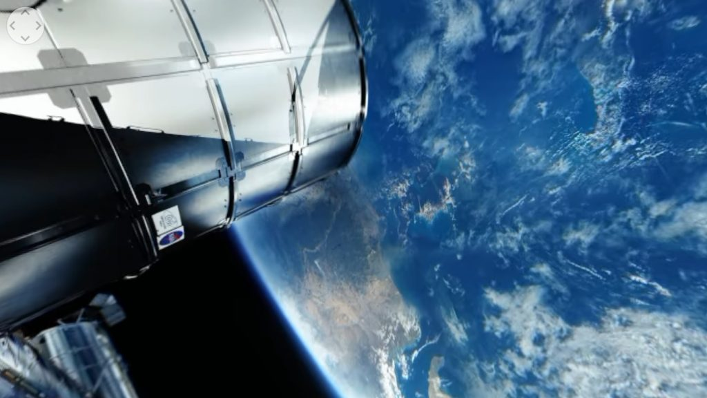 A shot in space from the ISS with the Vuze camera. Screenshot