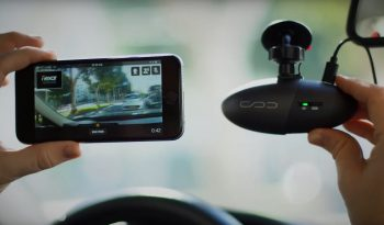 The Nexar app and dashcam. Screenshot from a Nexar video on YouTube.