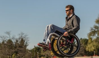 A wheelchair with SoftWheel suspension tech. Courtesy