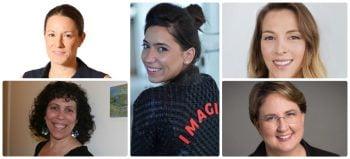 Dr. Michal Tsur, top left, Dr. Tal Rabin, bottom left, Danit Peleg, center, Galia Benartzi. top right, Limor Shmerling Magazanik, bottom right.