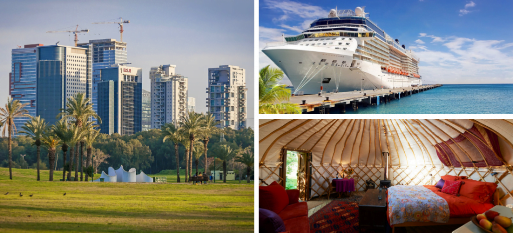 A view of Yarkon park, left; an illustrative photo of a cruise ship, top right; a luxury camping structure, bottom right. Deposit Photos