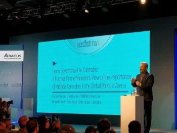 Ehud Barak speaking at CannaTech in Tel Aviv, April 1, 2019. Photo by Klara Strube