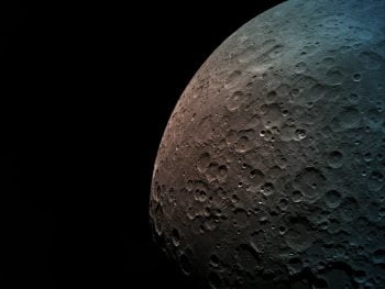 An image of the moon taken by the Beresheet spacecraft from a height of 550 km. Photo via SpaceIL and IAI