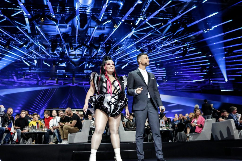 Netta Barzilai and Assi Azar at the first Eurovision semi-finals in Tel Aviv. Photo by Thomas Hanses via the official Eurovision website.