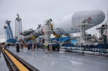 The Voyuz rocket taking the NSLcomm satellite to space. (Photo: Roscosmos)