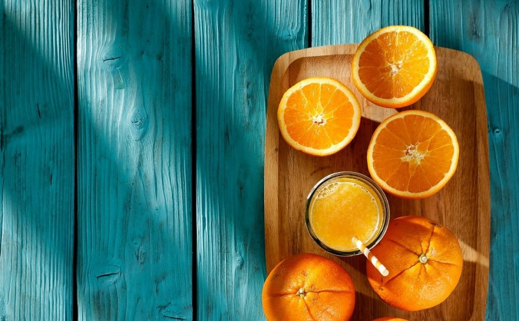 Oranges and orange juice. Courtesy