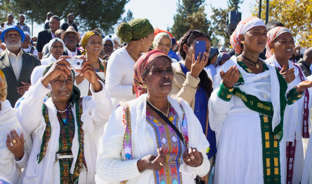 Ethiopian-Israeli Jewish women celebrate the Sigd, a unique annual holiday of Ethiopian Jews, in Jerusalem in 2014.