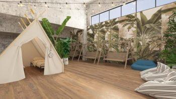 An indoor tent at the Spot Hostel in Tel Aviv.. Spot Hostel website