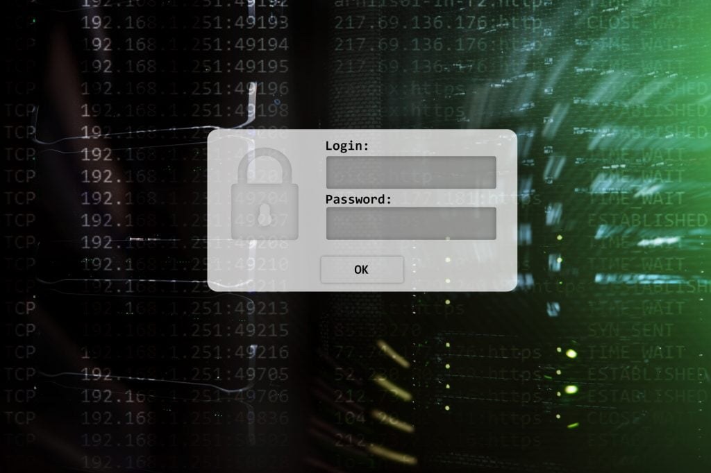 A user interface for a login and password. Illustrative. Deposit Photos