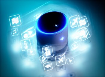 Concept of home intelligent voice activated assistant. Deposit Photos