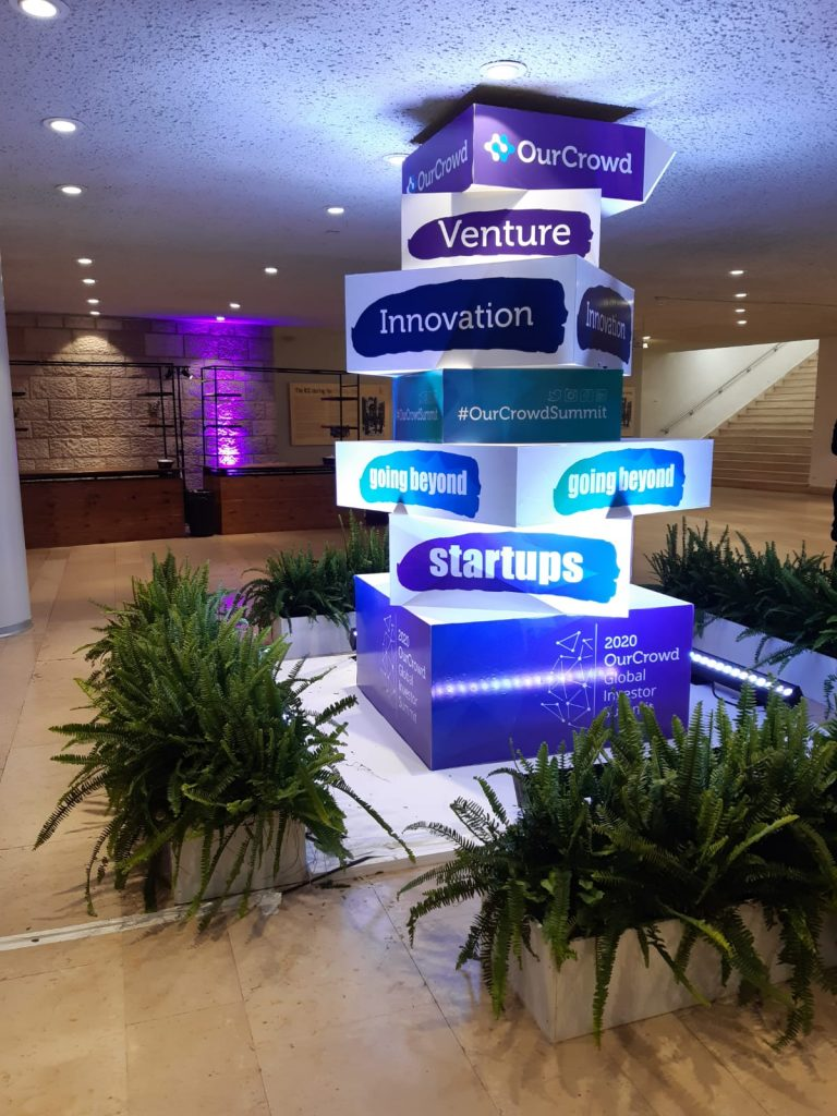 The entrance to the OurCrowd Global Investor Summit in Jerusalem February 13, 2020. Courtesy