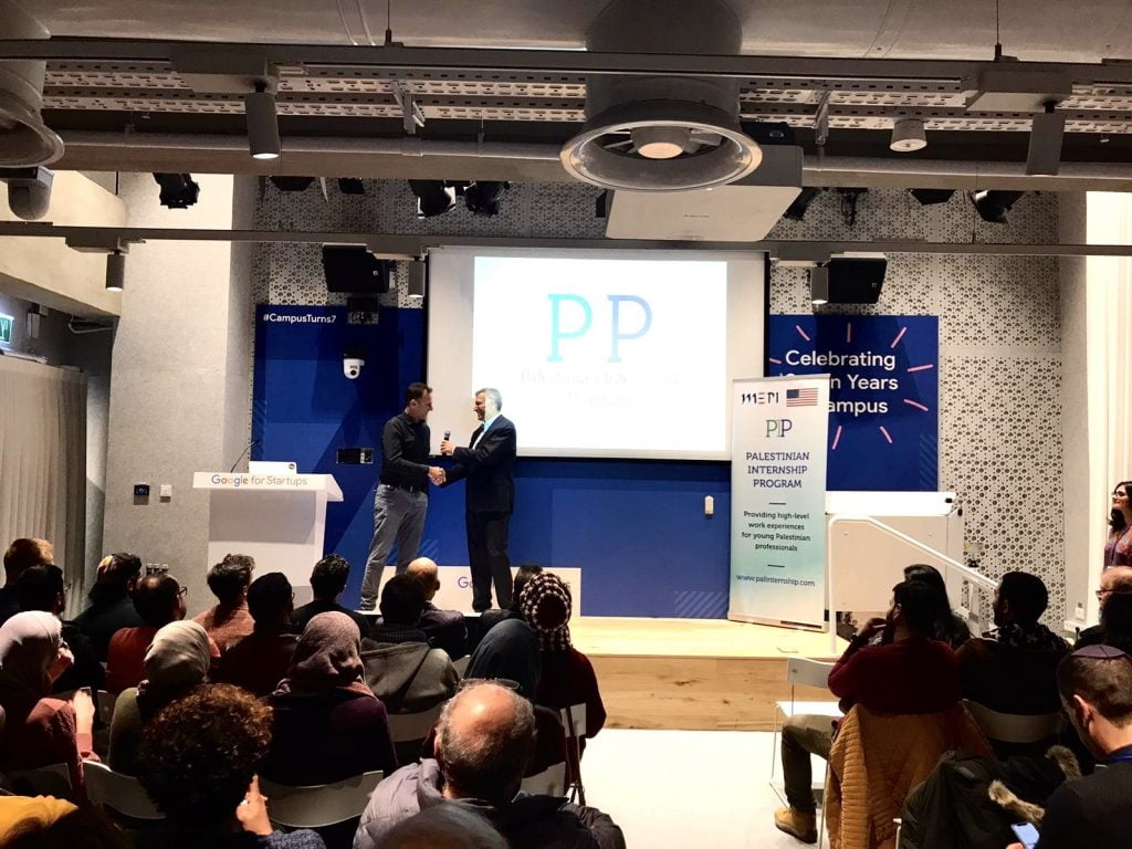PIP founder Yadin Kaufmann and Google Israel CEO Barak Regev at a PIP event in Tel Aviv, January 2020. Courtesy