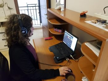 Technion faculty practice distance teaching ahead of the opening of the online Spring semester. Credit: Technion Spokesperson's Office
