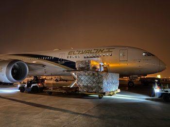 An El Al plane carrying essential medical items is set to take off toward Tel Aviv from Shanghai, April 5, 2020. Photo: El Al