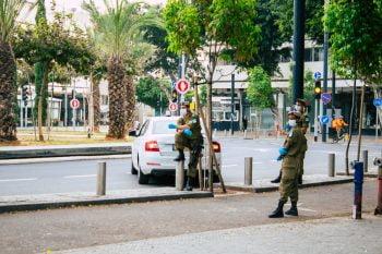 Israeli soldiers in Tel Aviv on April 5, 2020. Deposit Photos