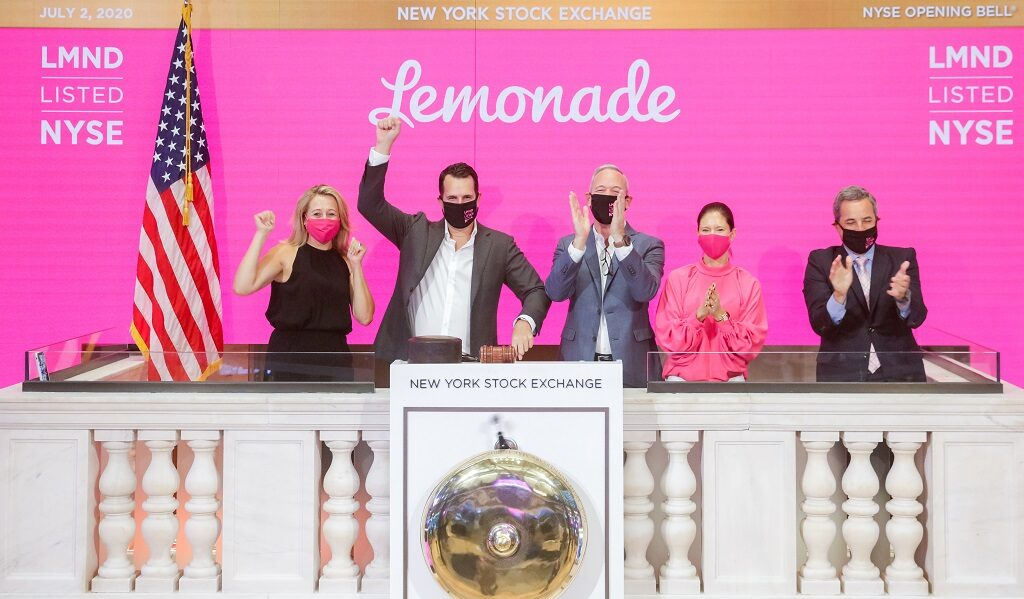 Lemonade files for IPO at the New York Stock Exchange, Thursday, July 2nd, 2020. Photo: NYSE