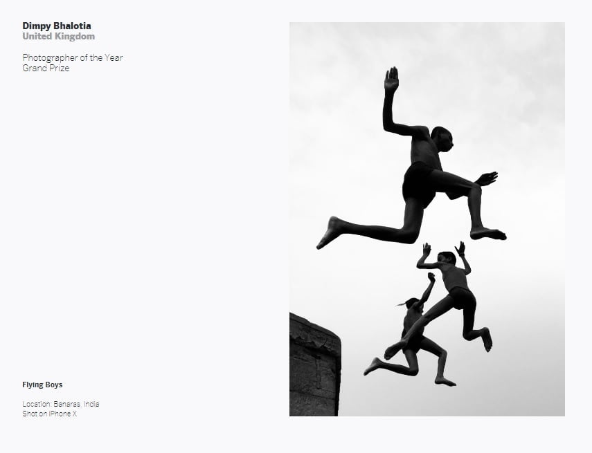 The Grand Prize Winner and Photographer of the Year Award for the 2020 IPPA competition went to street photographer Dimpy Bhalotia of the United Kingdom for her image 'Flying Boys.' Photo: IPPAWARDS