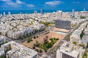 An aerial view of Tel Aviv and the municipality building. Photo: Courtesy of Barak Brinker/Tel Aviv-Yafo Municipality