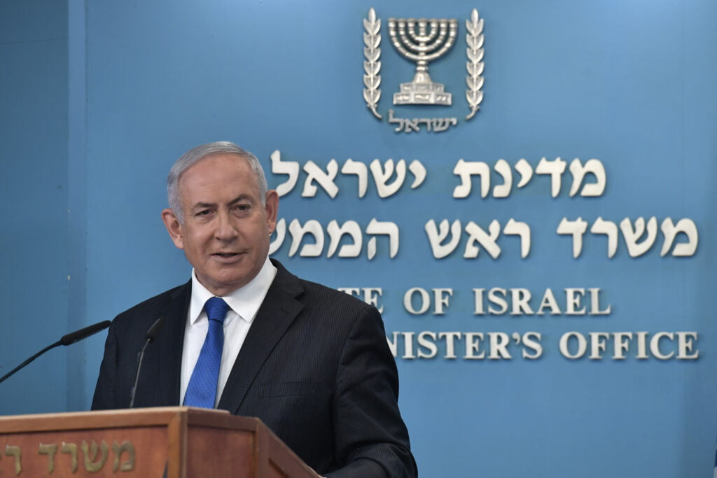 Prime Minister Benjamin Netanyahu speaks at a press conference on Thursday, 13 August 2020 announcing a peace treaty with the United Arab Emirates. Photo by Kobi Gideon / GPO