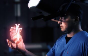 HOLOSCOPE-i is an over-the-head holographic system by RealView Imaging that creates digital 3D holograms in the physician's hand. Photo: RealView Imaging