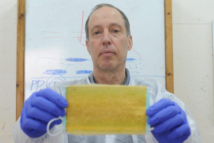 The 'Maya' nanosheet sticker for masks was co-developed by Professor Eyal Zussman of the Technion. Photo: Courtesy of the Technion