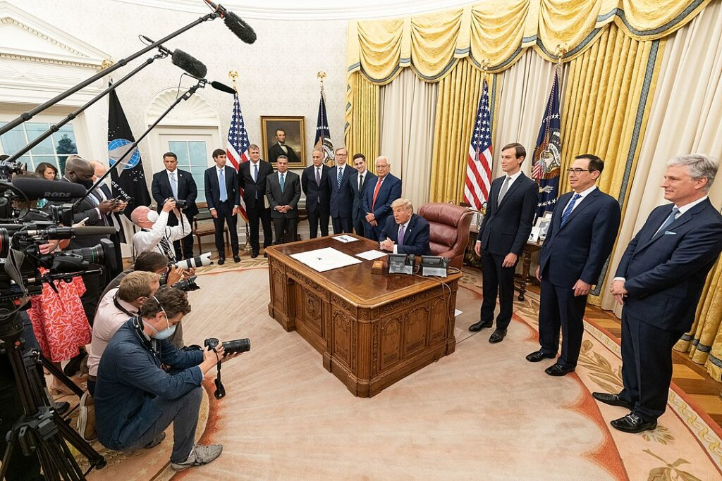 US President Donald Trump, joined by White House senior staff members, delivers a statement announcing the agreement of full normalization of relations between Israel and the United Arab Emirates on Thursday, August 13, 2020, in the Oval Office of the White House. (Official White House Photo by Joyce N. Boghosian)
