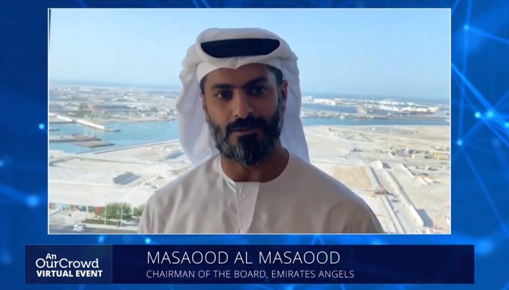Emirates Angels Investors Association Chairman Masaood Al Masaood speaks during the Israeli Tech Investment Landscape: Introduction for the UAE Investor on September 22, 2020. Screenshot