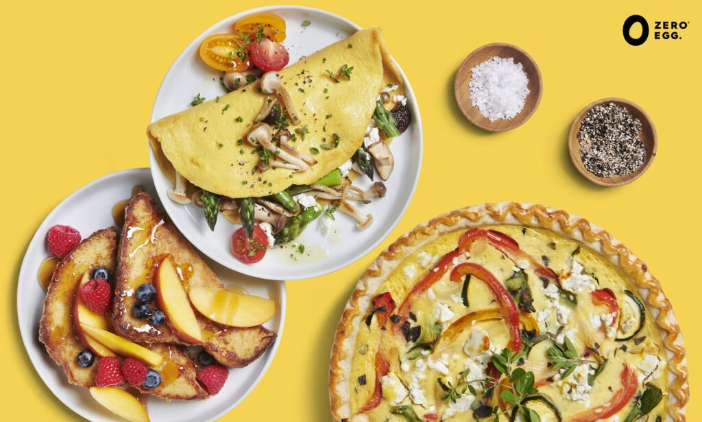 An Omelette, French toast and quiche made with Zero Egg. Photo: Zero Egg