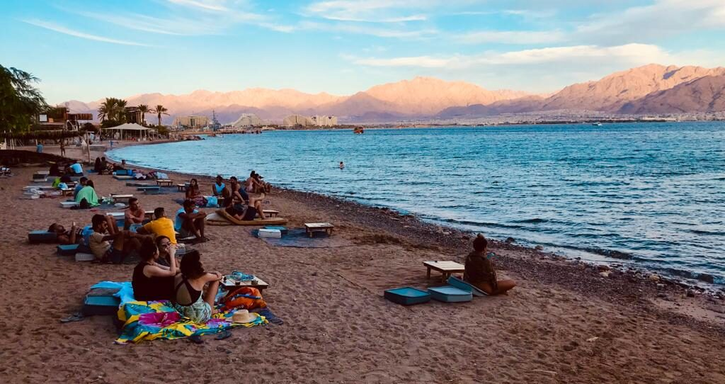 R&R on an Eilat beach on the Red Sea, November 2020. Photo: Viva Sarah Press