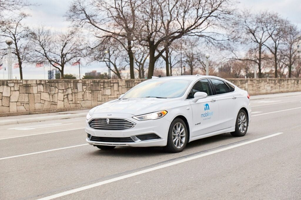 A self-driving vehicle from Mobileye's autonomous test fleet navigates the streets of Detroit. Photo: Mobileye, an Intel Company