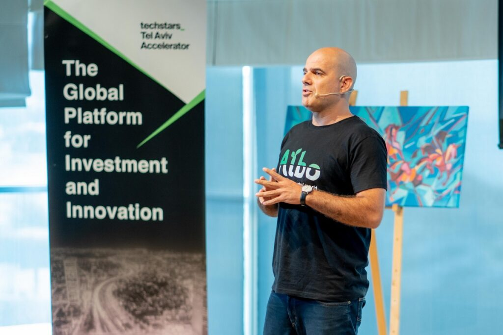 Gili Bisa, CEO and co-founder of Albo, at Techstars Tel Aviv Demo Day. Photo: Hanna Taieb