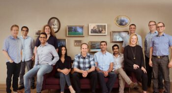 The MyHeritage team, with founder Gilad Japhet in the center. Courtesy