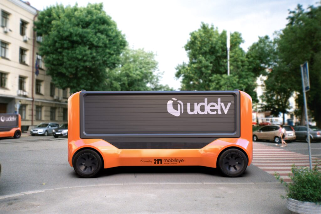 In April 2021, Udelv announced that Mobileye Drive, Mobileye's self-driving system, will drive the company's Transporters, Udelv's next-generation autonomous delivery vehicles. (Photo: Udelv)