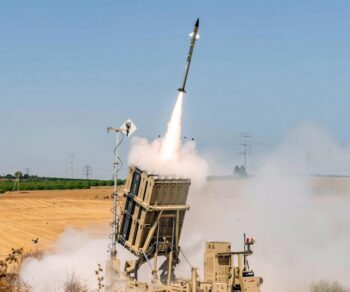 The Iron Dome system launches a Tamir interceptor during Operation Guardian of the Walls, May 13, 2021. By IDF Spokesperson's Unit, CC BY-SA 3.0