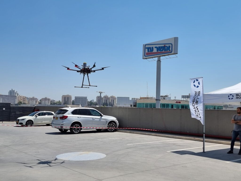 A drone tests commercial deivery in Hadera as part of a national initiative to roll out drone delivery services. June 2021. Photo: Aviv Bar Zohar