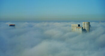 Tel Aviv in the clouds. Image by missyadler from Pixabay