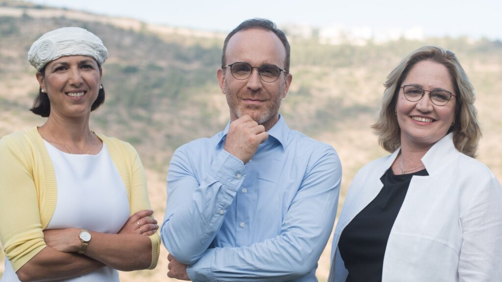 Aleph Farms' leadership team from left to right: Technion Professor Shulamit Levenberg, Co-Founder and Chief Scientific Adviser; Didier Toubia, Co-Founder and CEO; Dr. Neta Lavon, Chief Technology Officer and Vice President of Research and Development. Photo:  Rami Shalosh
