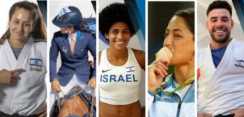 Israeli athletes from left: Inbar Lanir, Dani G. Waldman, Maor Tiyouri, Yarden Gerbi, and Lee Kochman. Photos from Follow Team Israel's Instagram page.